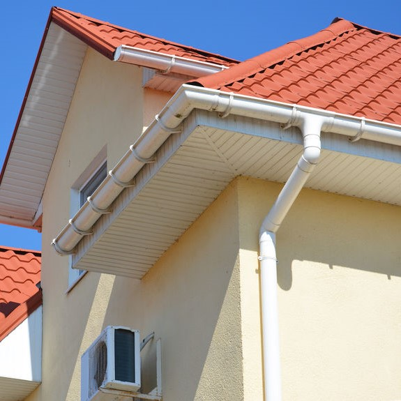 gutter system along roof
