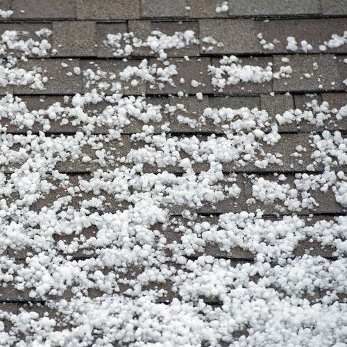 A Shingle Roof Covered in Hail.