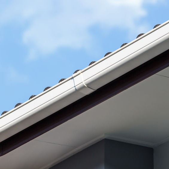 white gutters and soffit